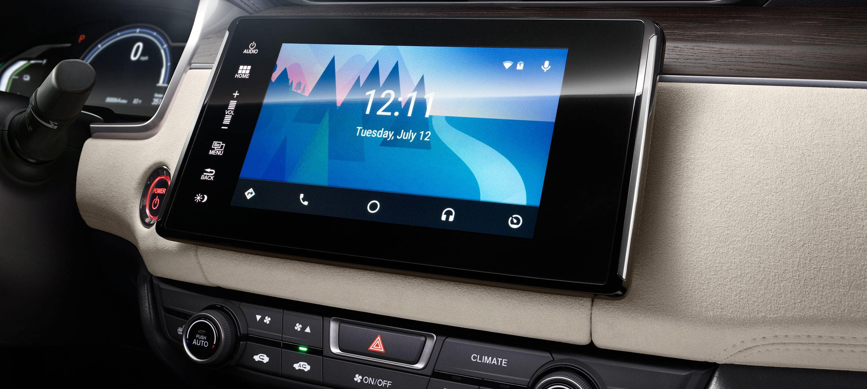 Detail of Android Auto™ Integration on 8-inch display audio touch-screen.
