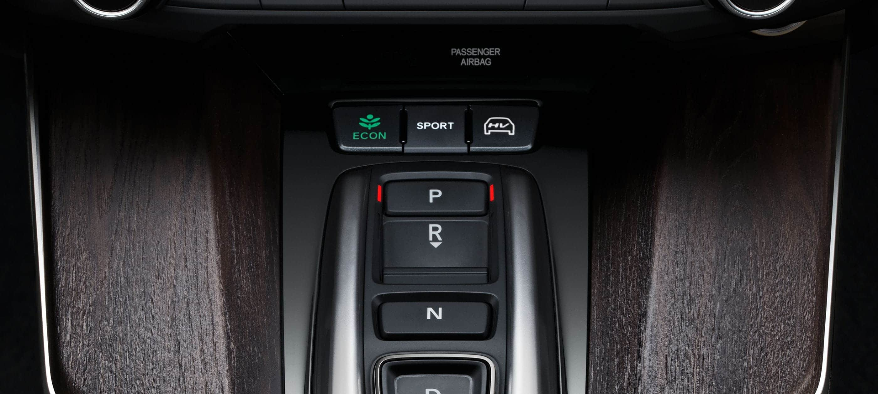 Detail of electronic gear selector in 2019 Clarity Plug-in Hybrid.
