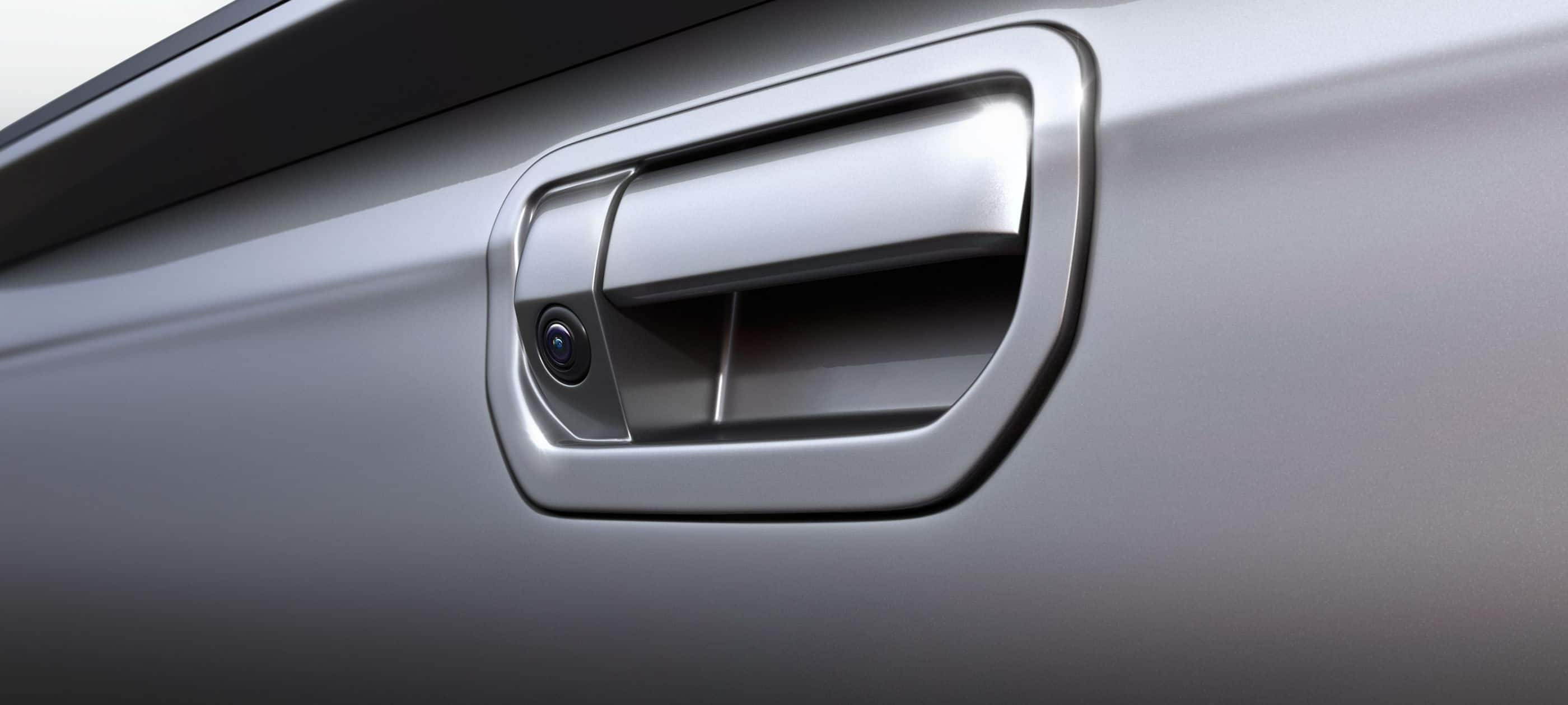 Detail of rearview camera on tailgate handle on 2019 Ridgeline.