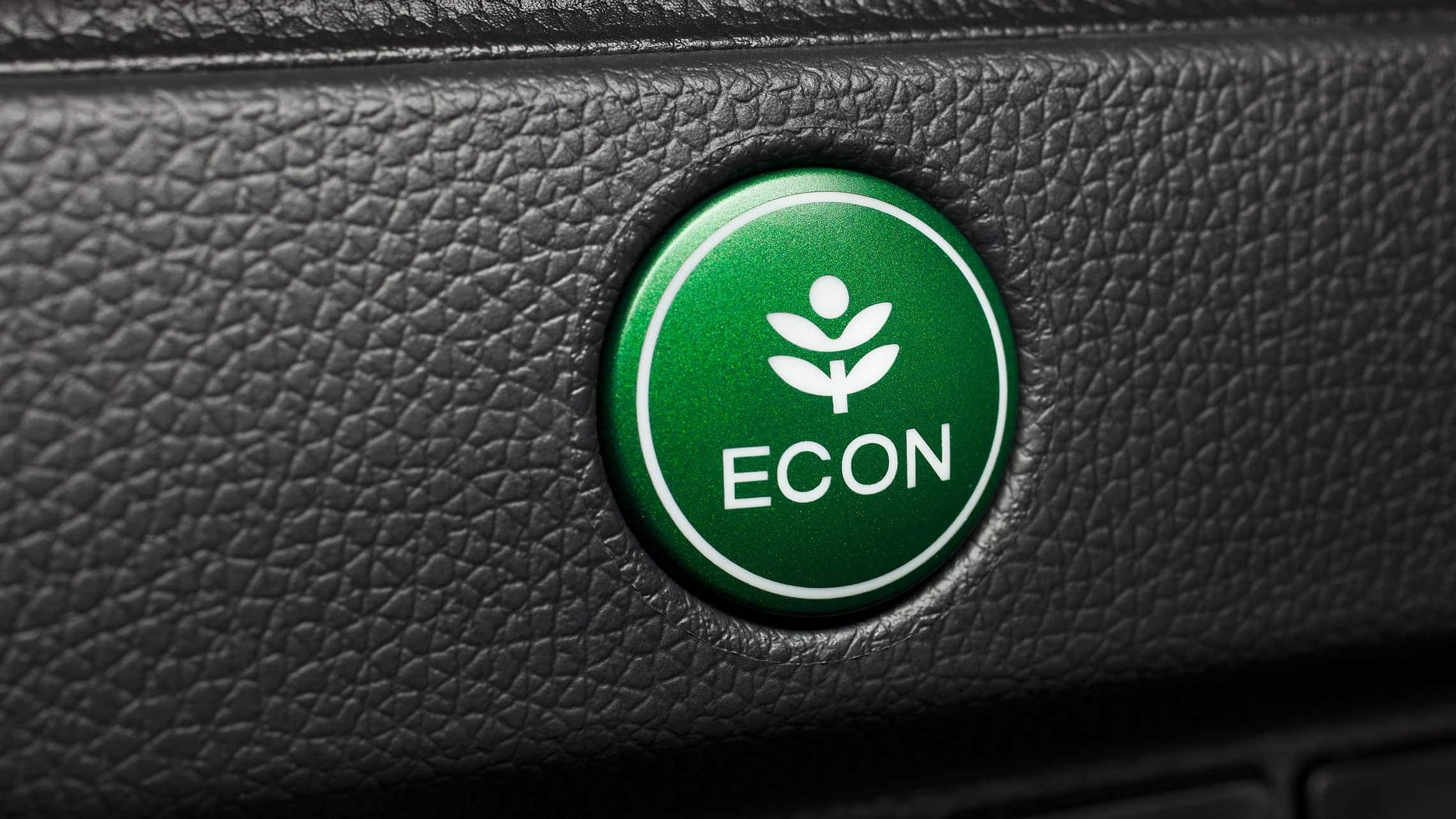 Green ECON button detail on 2019 Honda Fit EX-L.