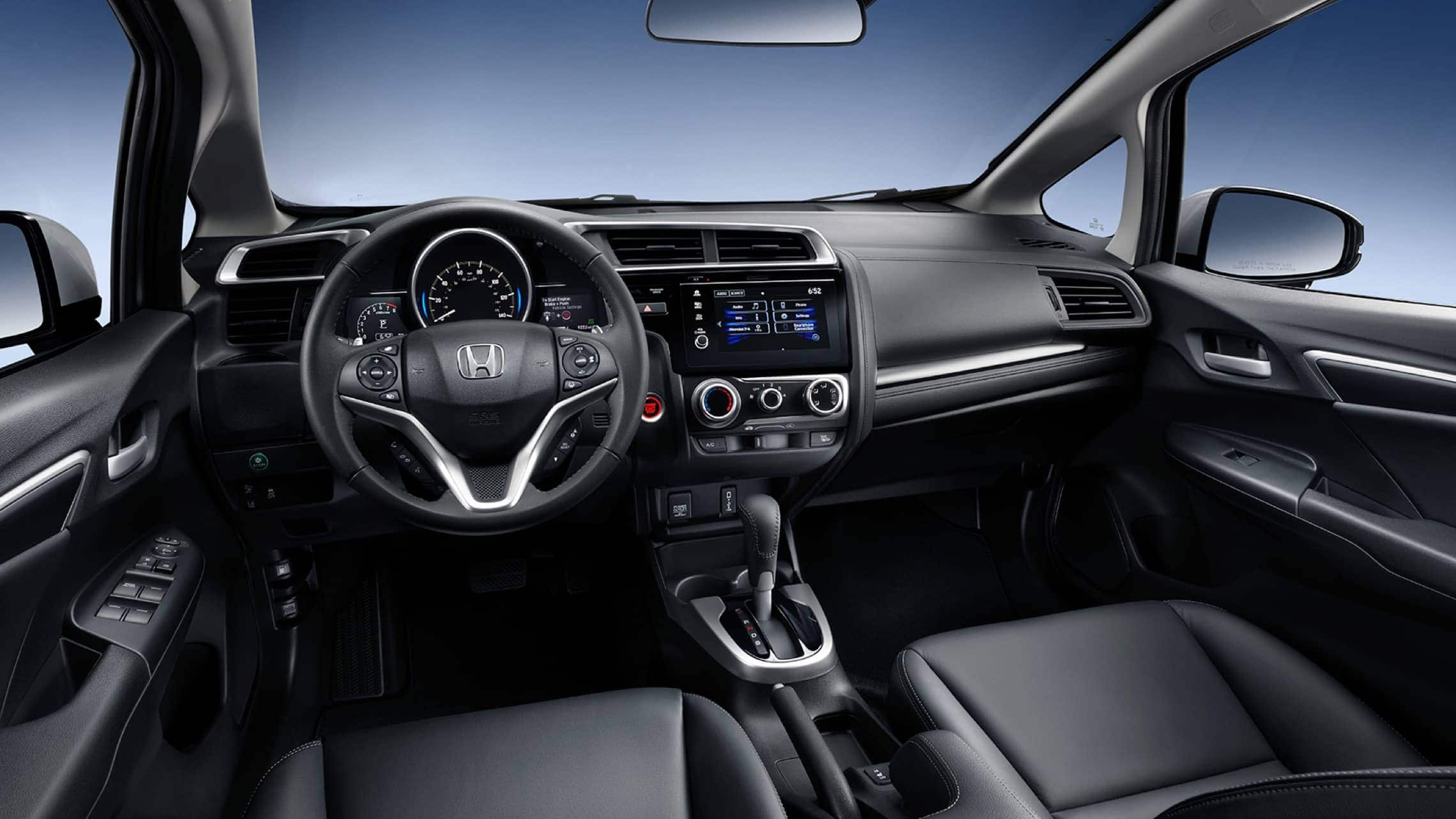 2019 Honda Fit EX-L leather-wrapped steering wheel detail in Black Leather.