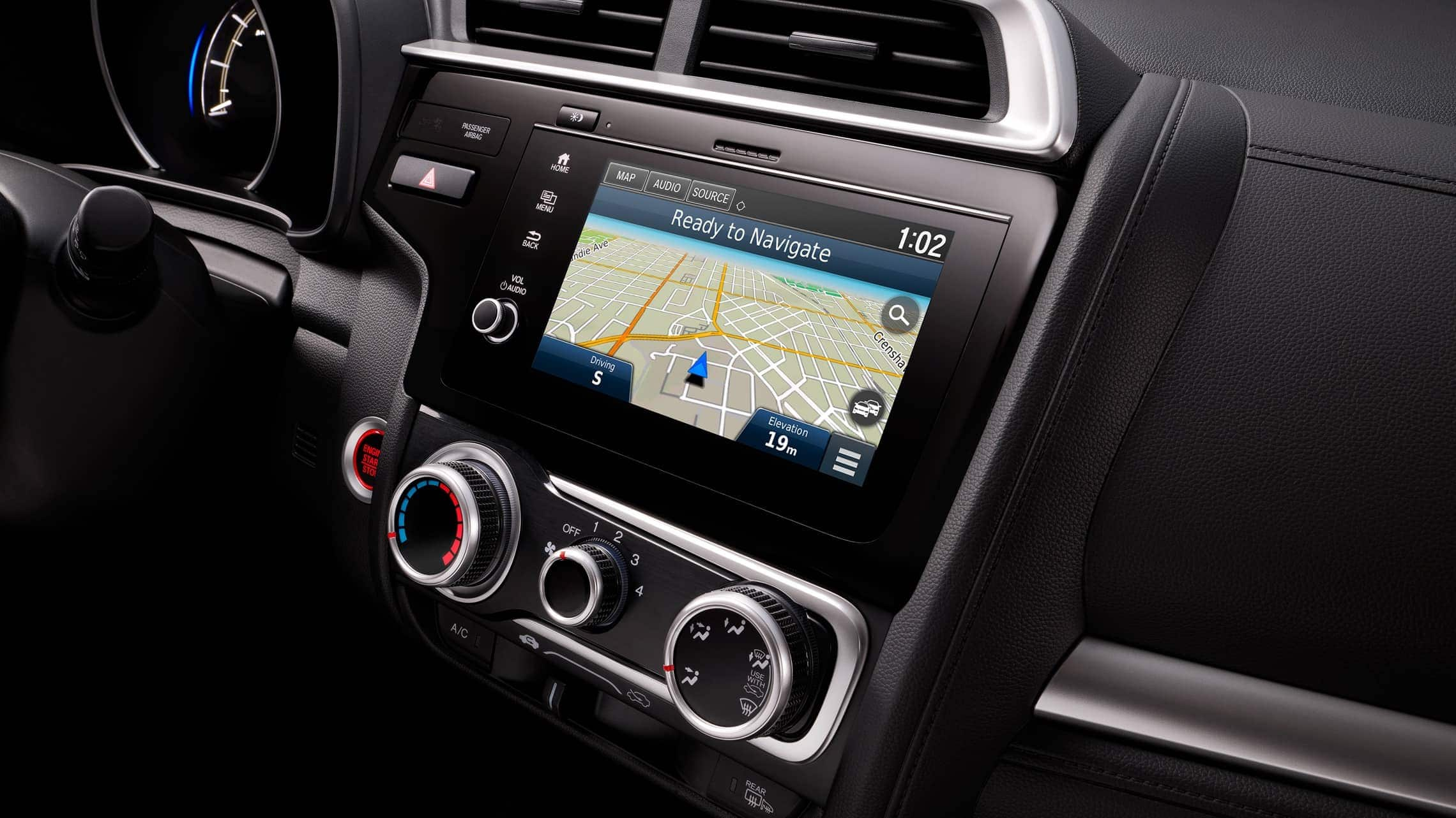 Display Audio touch-screen with Honda Satellie-Linked Navigation™ system detail on 2019 Honda Fit.