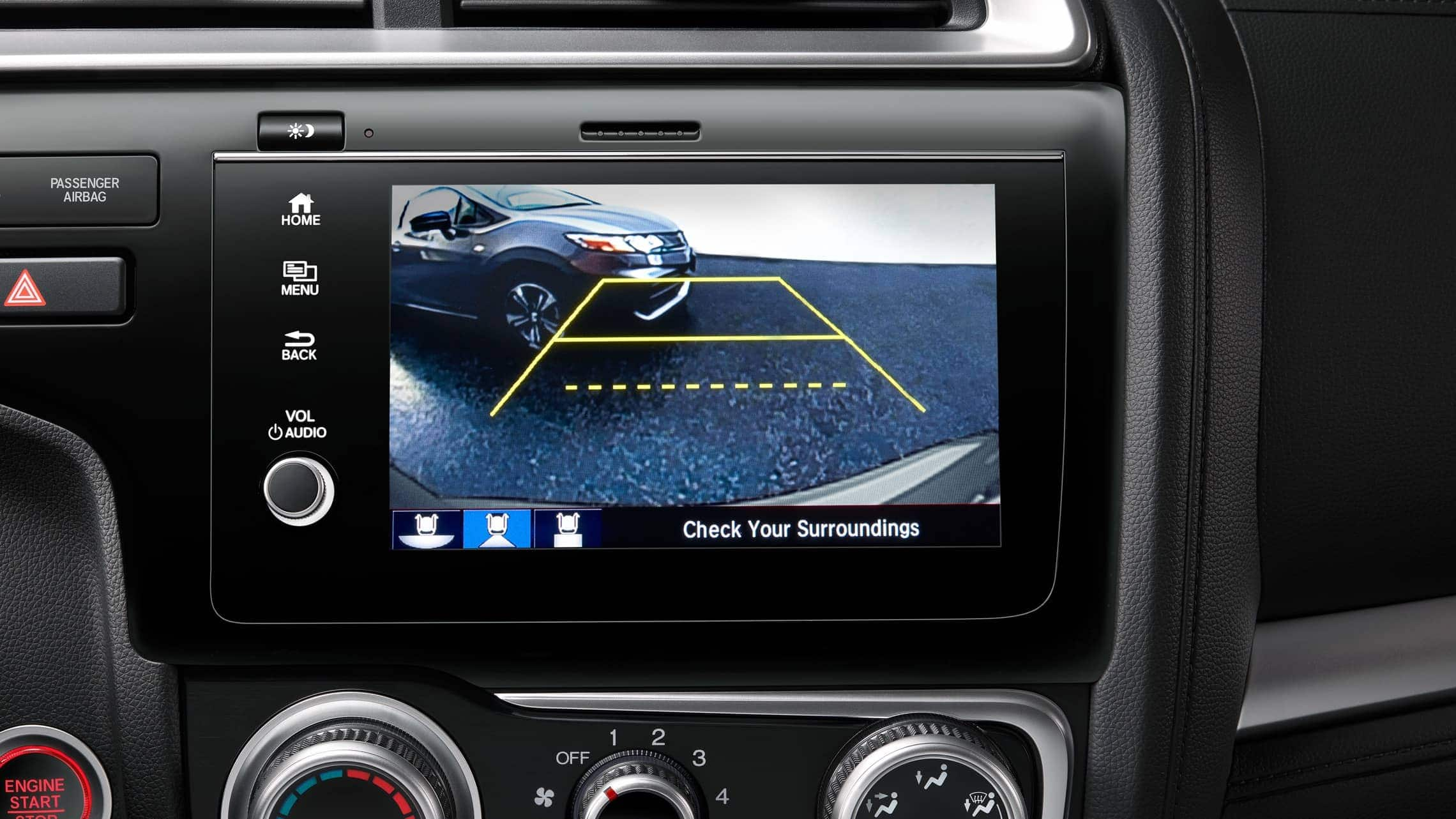 Display Audio touch-screen with multi-angle rearview camera detail displayed on 2019 Honda Fit.