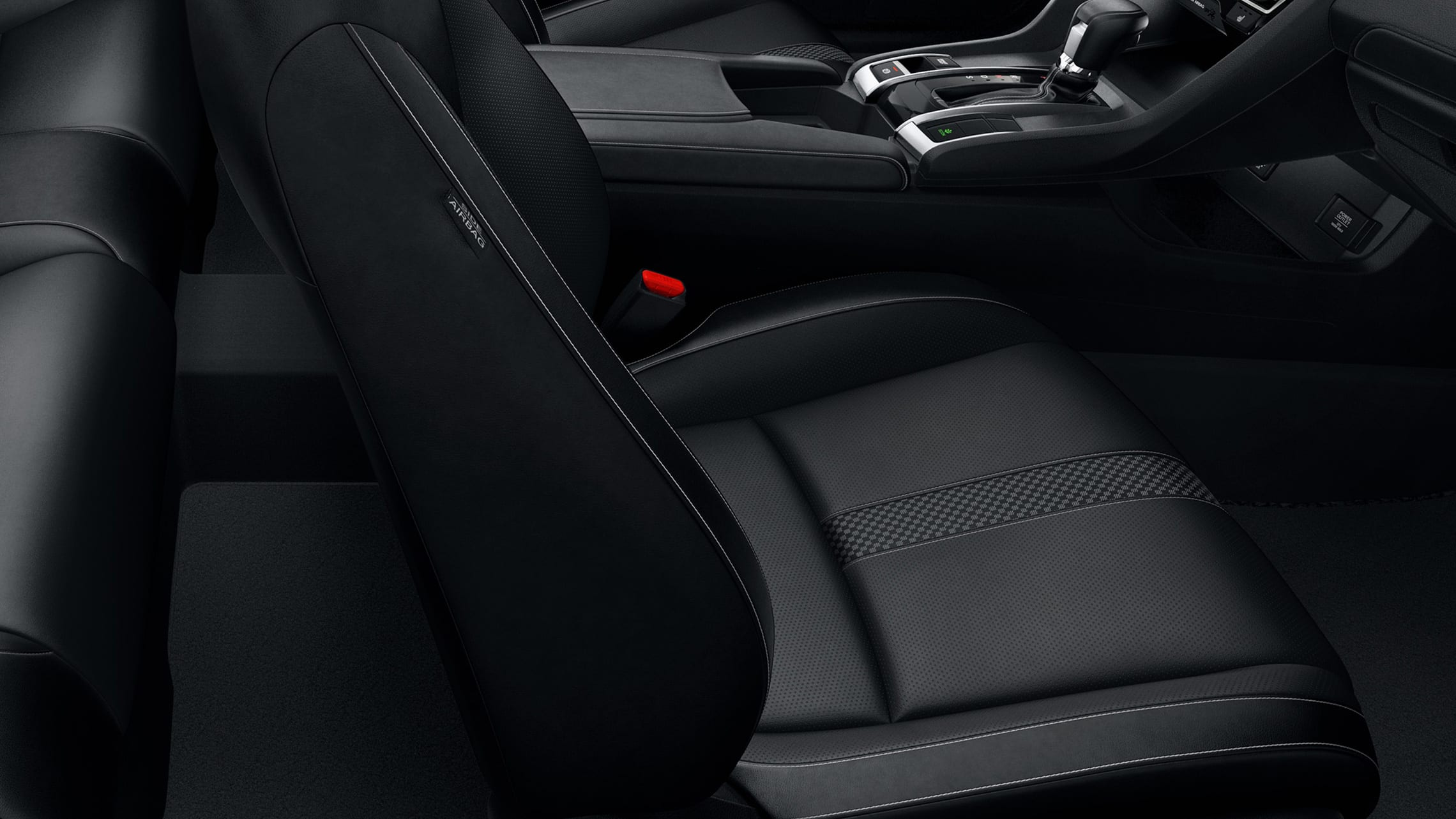Leather-trimmed seat detail in the 2020 Honda Civic Touring Coupe with Black Leather.