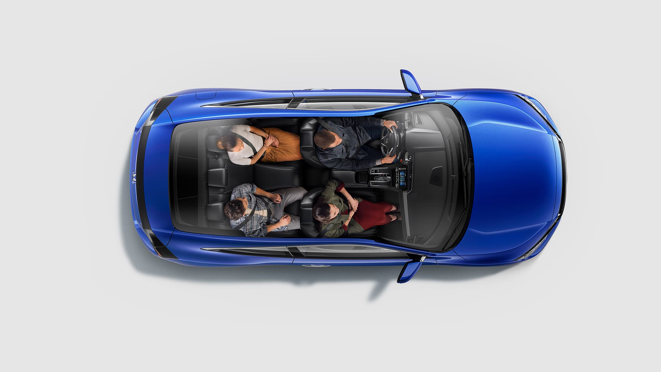 Overhead interior view of the 2020 Civic Touring Coupe in Aegean Blue Metallic with four passengers seated.