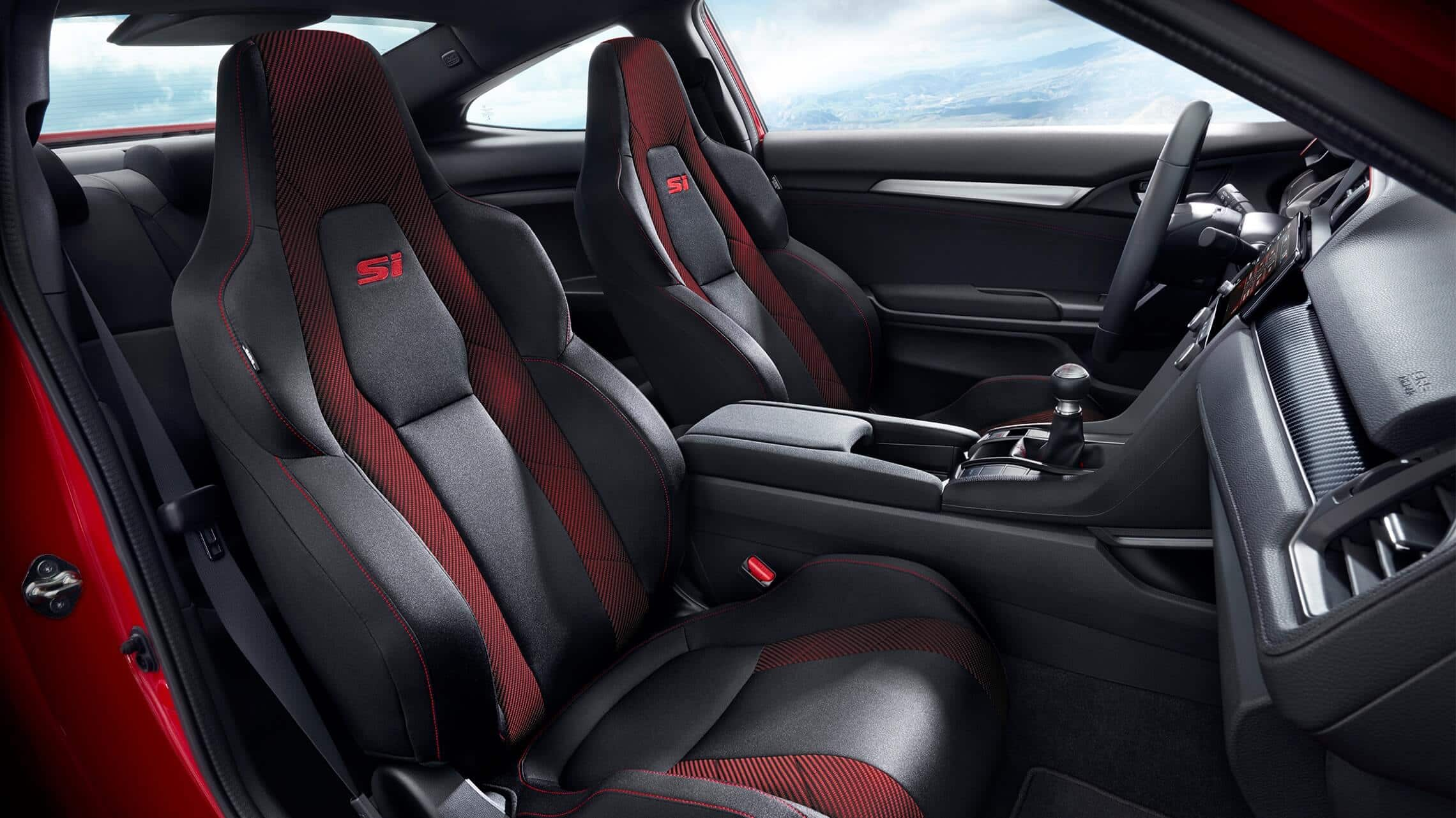 Interior passenger's side view of bolstered front seats in 2020 Honda Civic Si Coupe in Black Cloth with red accents.