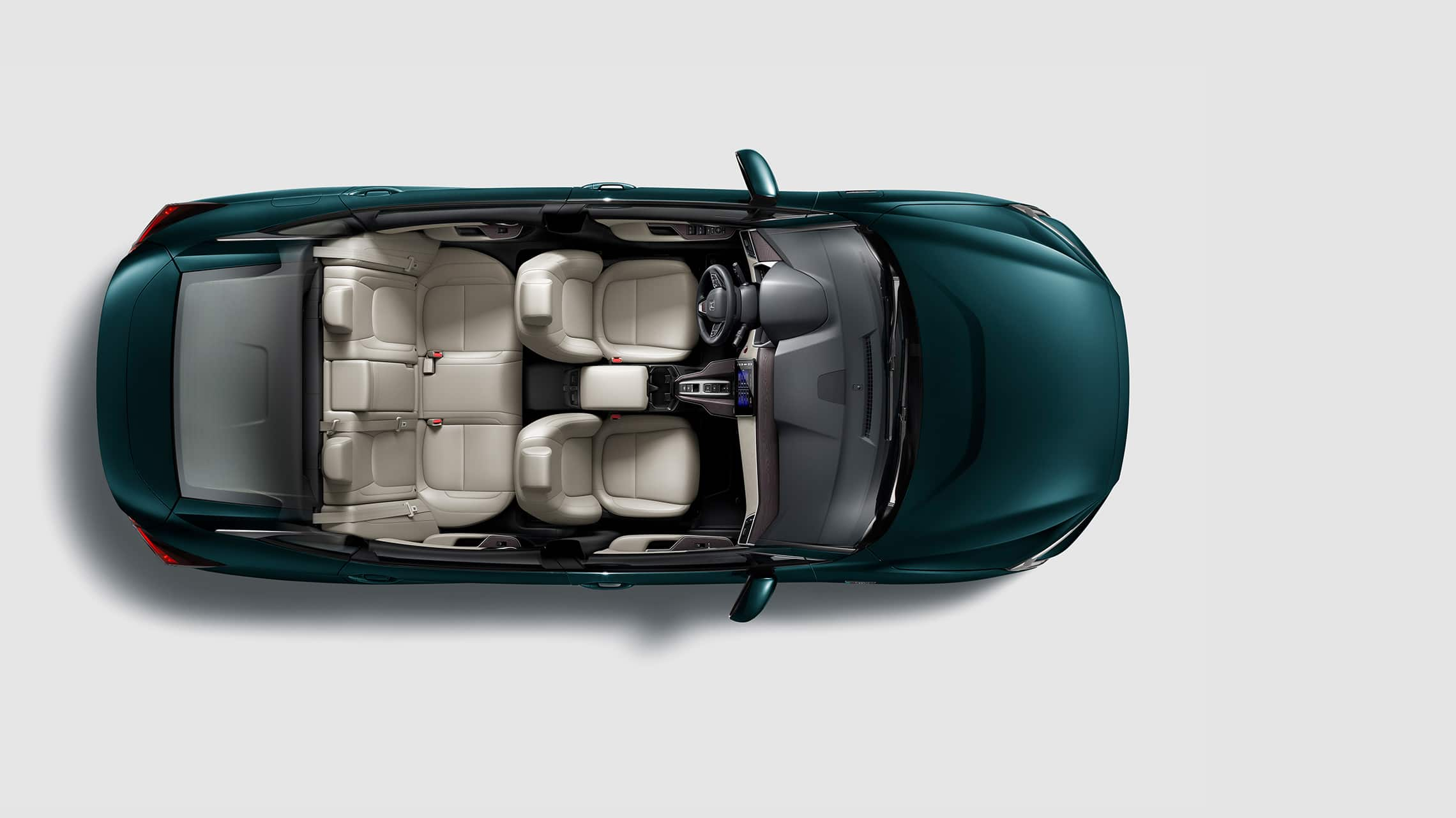 Overhead of 2020 Clarity Plug-In Hybrid in Moonlit Forest Pearl.