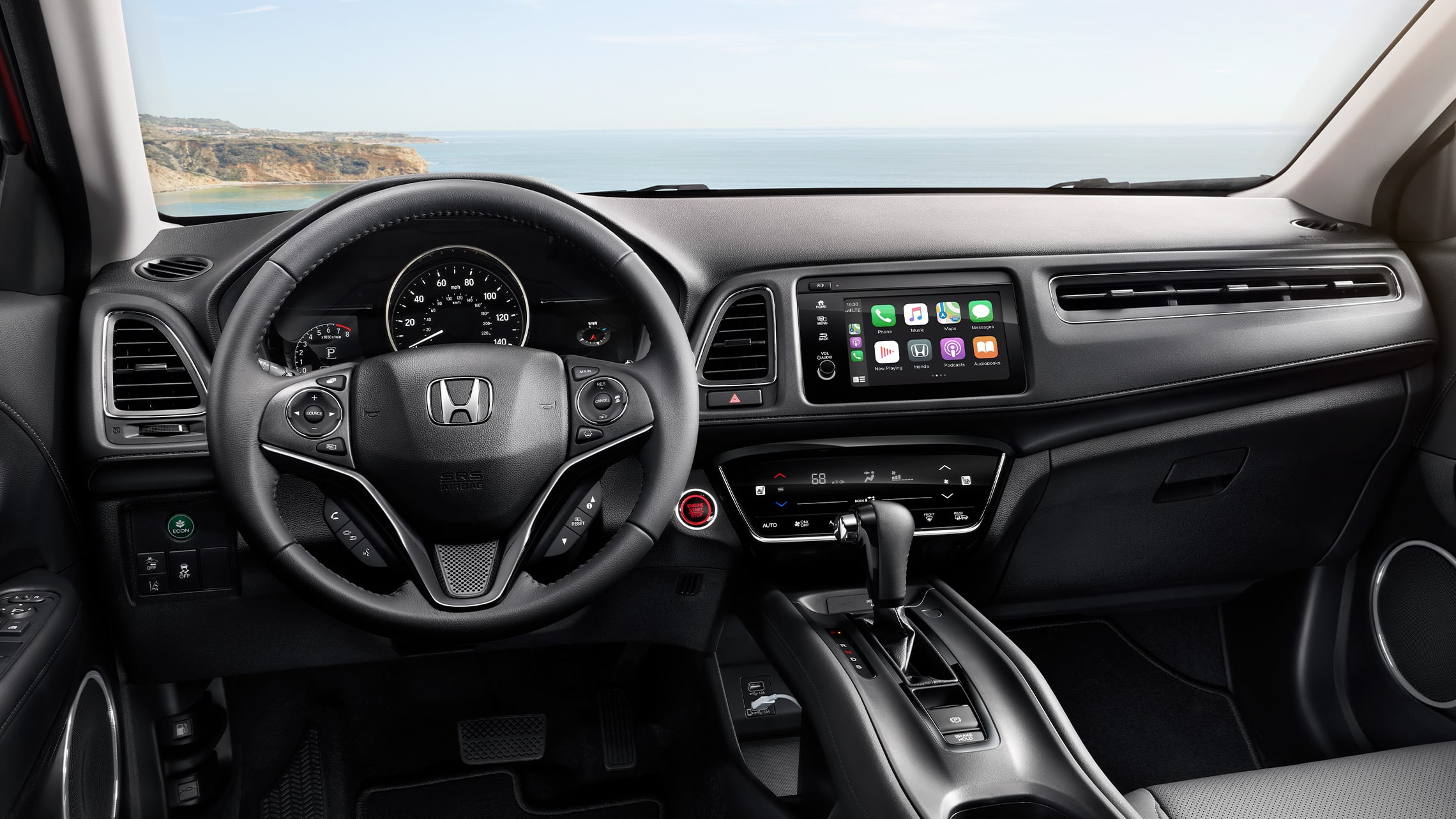 Interior cabin view of instrument panel in the 2020 Honda HR-V Touring in Black Leather.