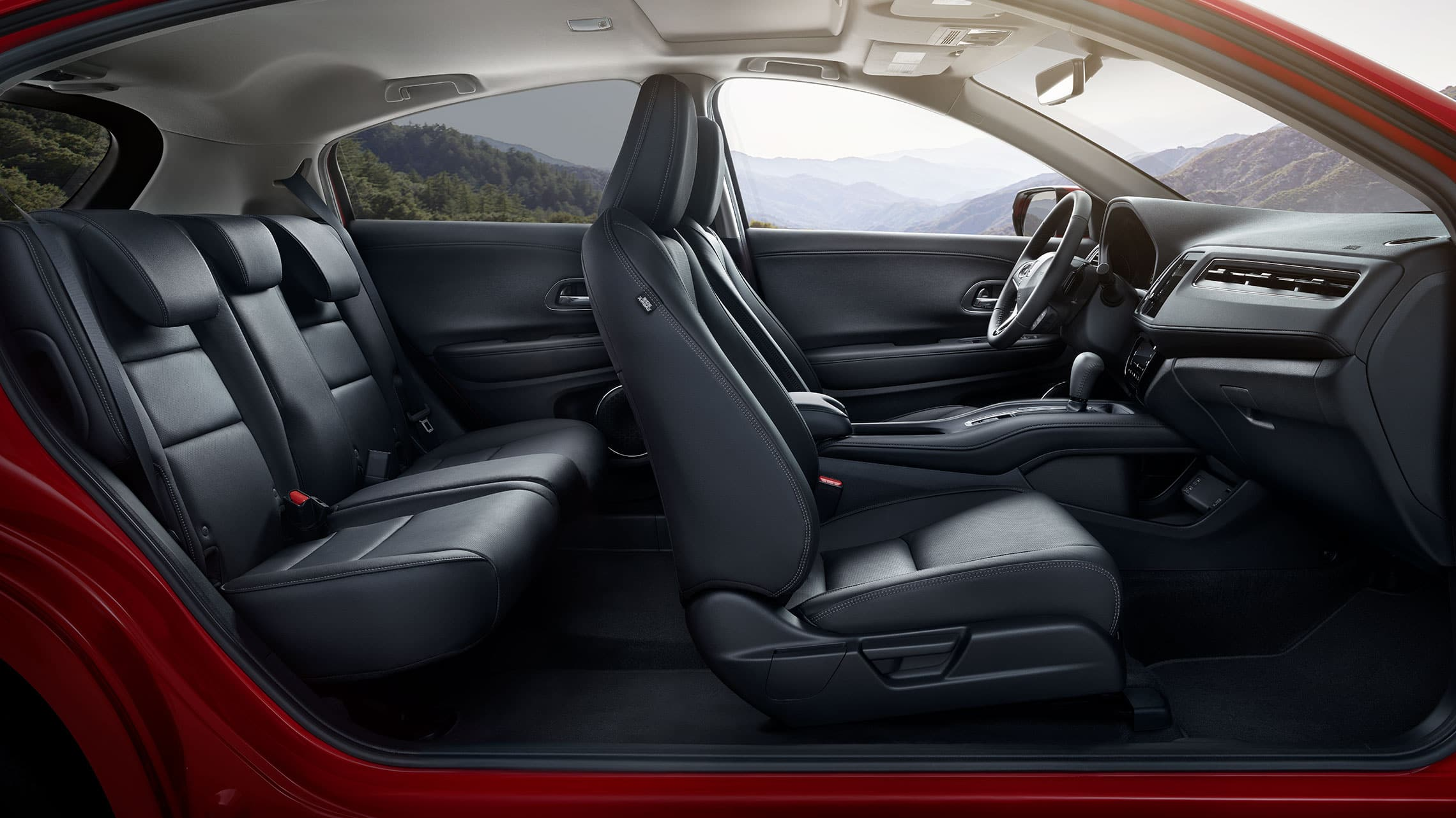 Interior view of the 2020 Honda HR-V Touring front seats in Black Leather.