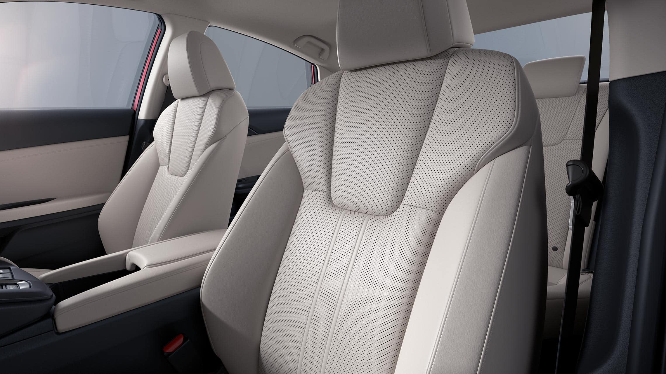 Interior close-up view of driver's seat on 2020 Honda Insight Touring with Ivory leather interior.