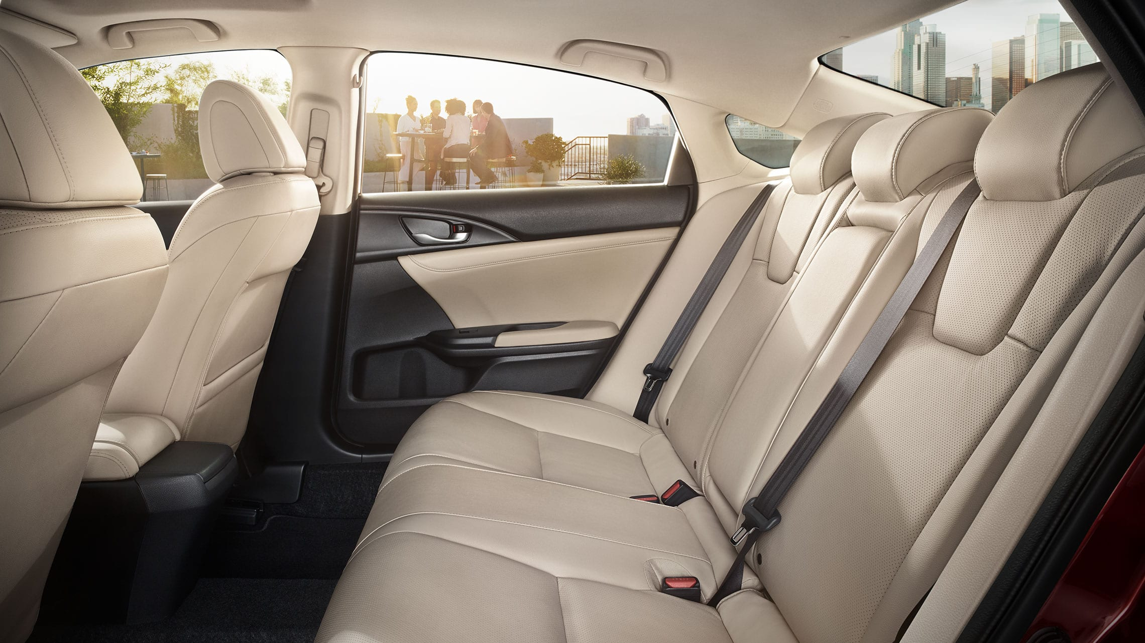 Interior side profile view of rear seats in 2020 Honda Insight with Ivory interior.