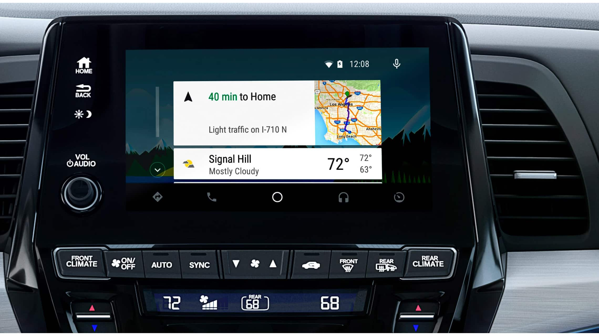 Android Auto™ detail on Display Audio touch-screen in 2020 Honda Odyssey Elite with Gray Leather.