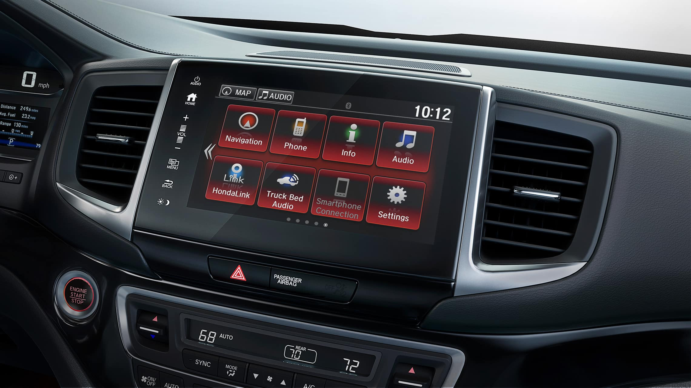 Display Audio touch-screen detail in the 2020 Honda Ridgeline Black Edition.