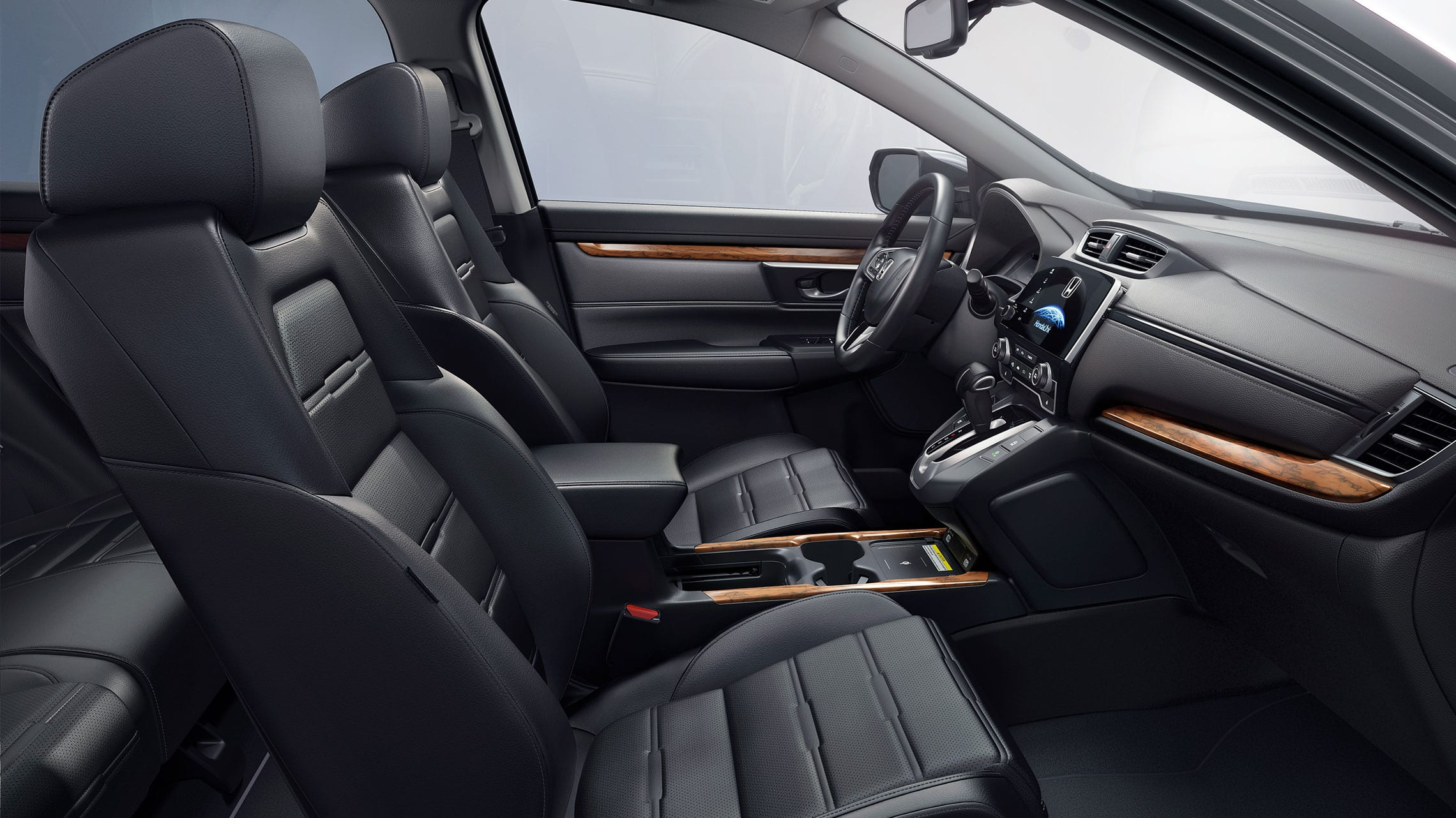 Interior view of the 2021 Honda CR-V Touring with Black Leather.