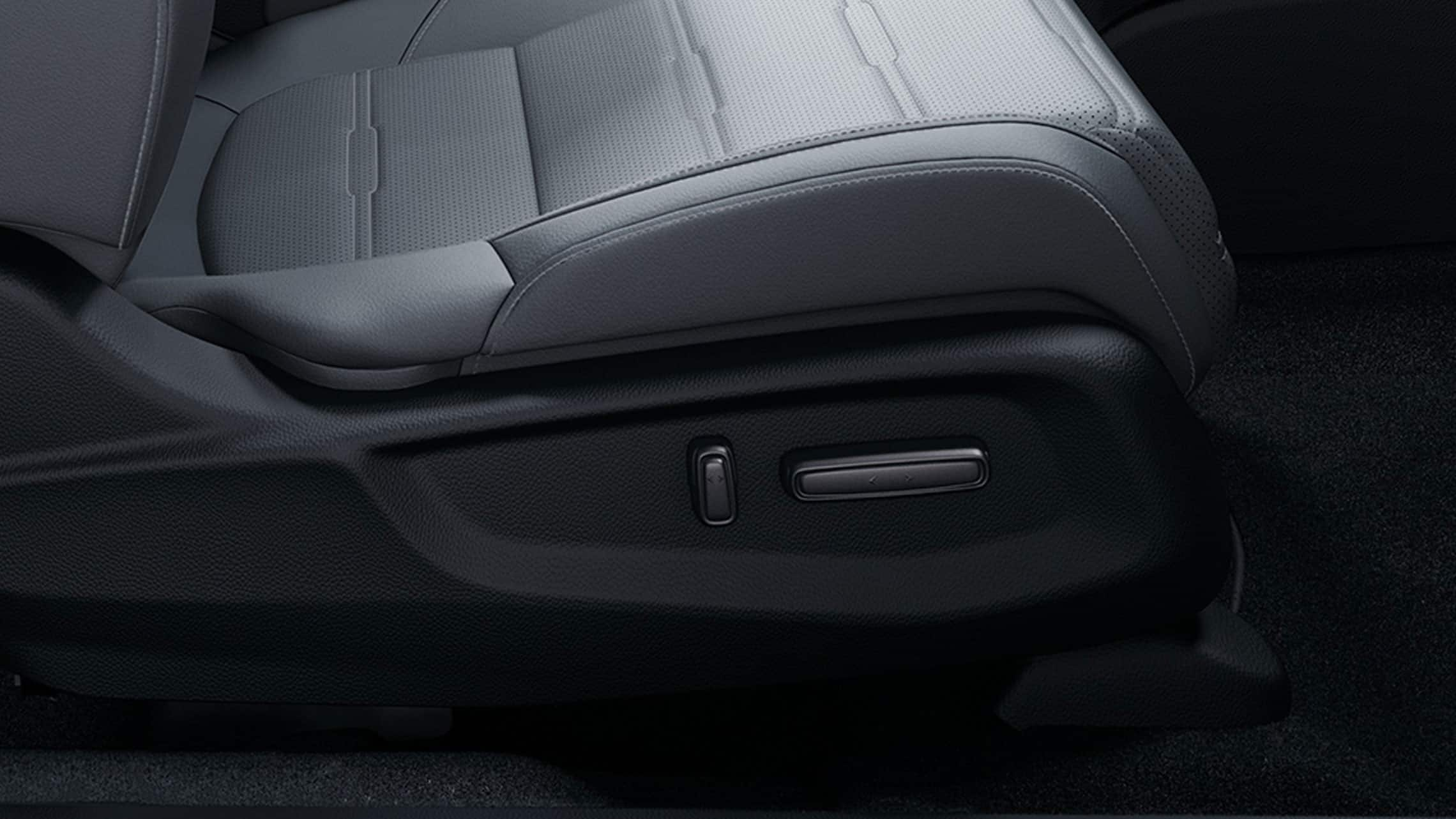 Power-adjustable front passenger seat detail in the 2021 Honda CR-V.